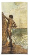 Hawaiian Fisherman Painting Beach Towel