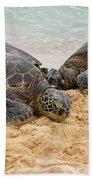 Hawaiian Green Sea Turtles 1 - Oahu Hawaii Beach Towel