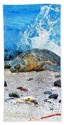 Hawaiian Green Turtle Honu Beach Towel