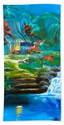 Hawaiian Hut And Waterfalls Beach Towel
