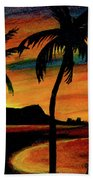 Hawaiian Waikiki Sunrise Over Diamond Head  #266 Beach Towel
