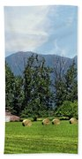Hay Bales And A Barn - Kalispell Montana Beach Towel