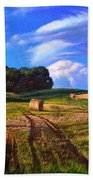 Hay Rolls On The Farm By Christopher Shellhammer Beach Towel