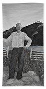 Haymaker With Pitchfork B W Beach Towel