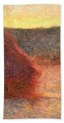 Haystacks At Sunset Beach Towel by Claude Monet