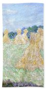 Haystacks The Young Ladies Of Giverny Sun Effect Beach Towel