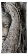 Head Of Buddha Statue In The Tree Roots Beach Towel