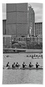 Head Of The Charles. Charles Rowers Black And White Beach Towel