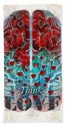 Heart Art - Think Love - By Sharon Cummings Beach Sheet
