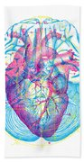 Heart Brain Beach Towel