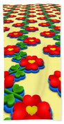 Heart Flowers Beach Towel