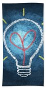 Heart In Light Bulb Beach Towel