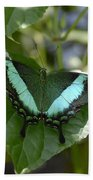 Heart Leaf Butterfly Beach Towel