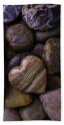 Heart Stone On River Rocks Beach Towel