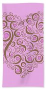 Heart With Pink Flowers And Swirls Beach Towel