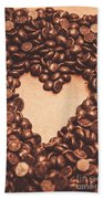 Hearts And Chocolate Drops. Valentines Background Beach Sheet