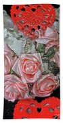 Hearts And Roses Beach Towel