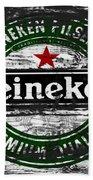 Heineken Beer Wood Sign 1f Beach Towel