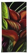 Heliconia Flower Beach Towel