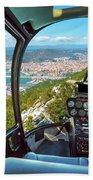 Helicopter On Gibraltar Rock Beach Towel