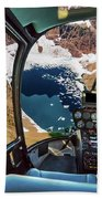 Helicopter On Glacier National Park Beach Towel