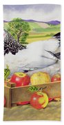 Hen In A Box Of Apples Beach Towel by EB Watts