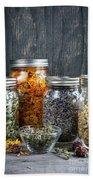 Herbs In Jars Beach Towel