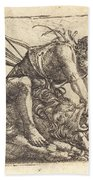 Hercules Overcoming The Nemean Lion Beach Towel