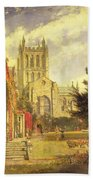 Hereford Cathedral Beach Towel by John William Buxton Knight