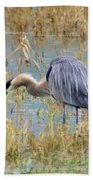 Heron Hunting In Shallows Beach Towel