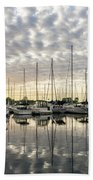 Herringbone Sky Patterns With Yachts And Boats  Beach Towel