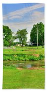 Herr's Grist Mill And Covered Bridge Beach Towel