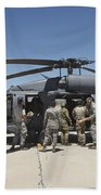 Hh-60g Pave Hawk With Pararescuemen Beach Towel