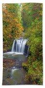 Hidden Falls In Autumn Beach Towel