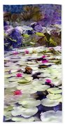 Hidden Pond Lotusland Beach Towel