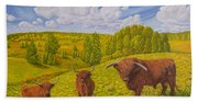 Highland Cattle Pasture Beach Towel