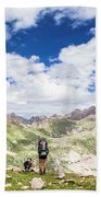 Hiker And Dog Beach Towel
