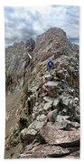 Hiker On Mt Eolus Catwalk - Chicago Basin - Weminuche Wilderness - Colorado Beach Sheet