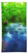 Hiking At The Rivers Edge Beach Towel