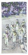 Hiking Down The Street I  Painterly Glowing Edges Invert  Beach Towel
