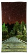 Hiking Into The Night Adirondack Log Keene Valley Ny New York Beach Towel