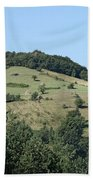 Hill With Haystack And Trees Landscape Beach Towel