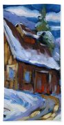 Hillsidebarn In Winter Beach Towel