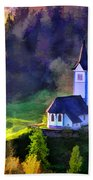 Hilltop Church In Misty Mountain Forest Beach Towel