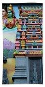 Hindu Deities On Wall Mural Of Sri Senpaga Vinayagar Tamil Temple Ceylon Rd Singapore Beach Towel