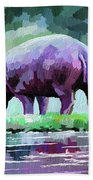 Hippopotamus Beach Towel