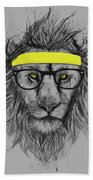 Hipster Lion Beach Towel