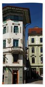 Historic Art Nouveau Buildings At Preseren Square White Tiled Ha Beach Towel