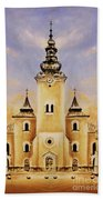 Historic Church And Town Square, Graphic Work From Painting. Beach Towel