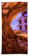 Historic Fermin Point Lighthouse In Infrared Beach Towel
